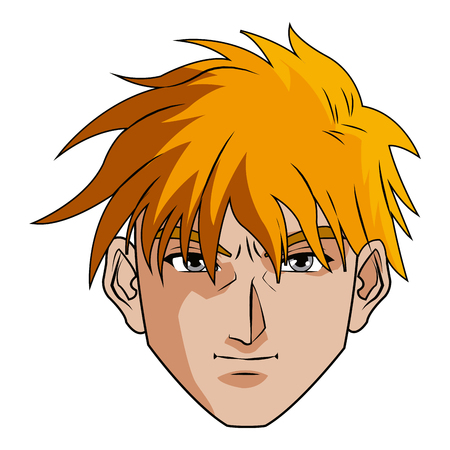 Anime Style Male Character Head Vector Illustration Stock