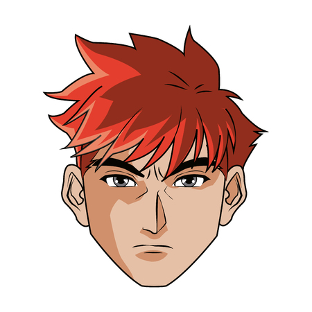 anime style male character head vector illustration Illustration