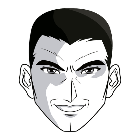 gothic style: anime style male character head vector illustration Illustration