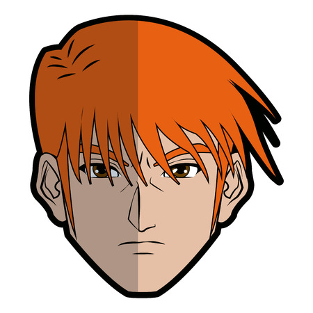 emote: anime style male character head vector illustration Illustration