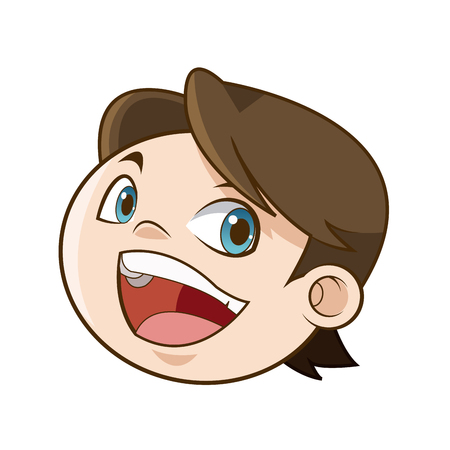 laughing boy face kid happiness expression image vector illustration Illustration