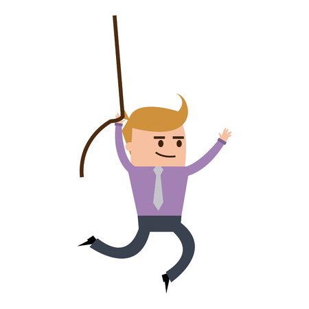 businessman hung rope up to the higher, cartoon vector illustration