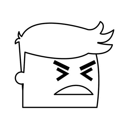 emotion expression: avatar man angry success. emotion face, expression, success person angry vector illustration