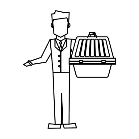Man holding pet carrying box transport image illustration