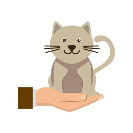 Hand holding cat symbol animal protection concept illustration