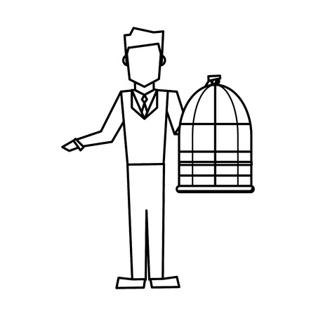 Man holding a cage empty veterinary concept vector illustration
