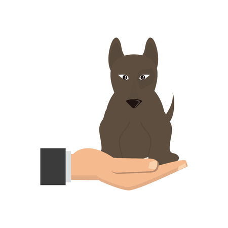 A human hand holding dog pet veterinary concept vector illustration.