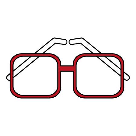 Flat line red glasses over white background. Vector illustration. Illustration