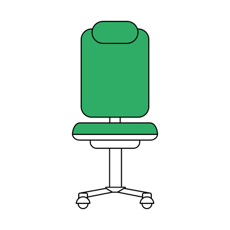 rolling chair flat line rolling chair over white background vector - Rolling Chair