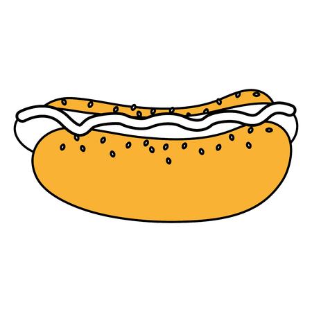 Hot dog flat line design Vector illustration. Illustration