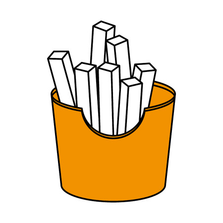 frites: Flat line french fries over white background. Vector illustration.