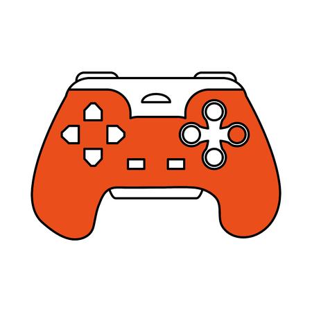 Flat line orange game controller Vector illustration. Illustration