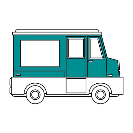 Flat Line Food Truck Vector Illustration