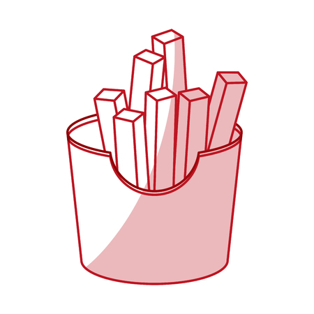 frites: Flat line monochromatic french fries vector illustration.