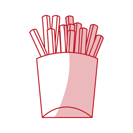 frites: Flat line monocromatic french fries over white background. Vector illustration.