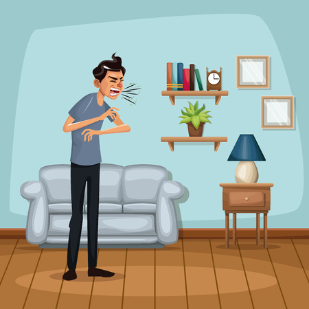 Background living room home with sneeze sickness people vector illustration Illustration