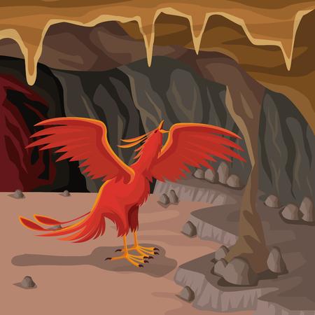 mythical phoenix bird: Cave interior background with phoenix greek mythological creature vector illustration