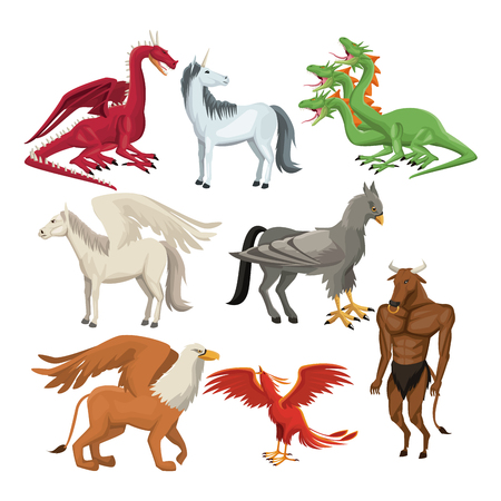 colorful set animal greek mythological creatures vector illustration