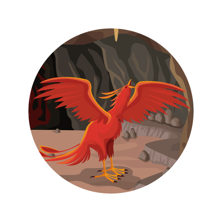 mythical phoenix bird: A circular frame with cave interior scene and phoenix Greek mythological creature vector illustration. Illustration