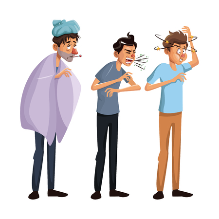 A white background set full body standing sick people male vector illustration. Illustration