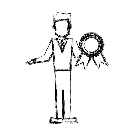 praise: vet man with award prize competition sketch vector illustration