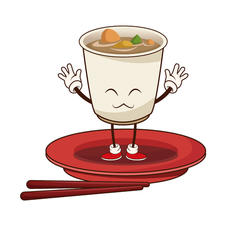 sushi oriental food japanese platter and chop sticks vector illustration