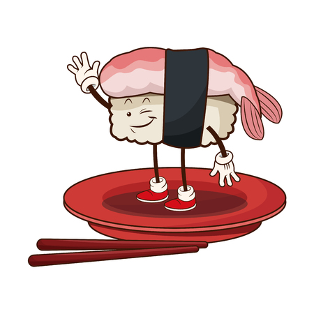 sushi oriental food japanese platter and chop sticks vector illustration