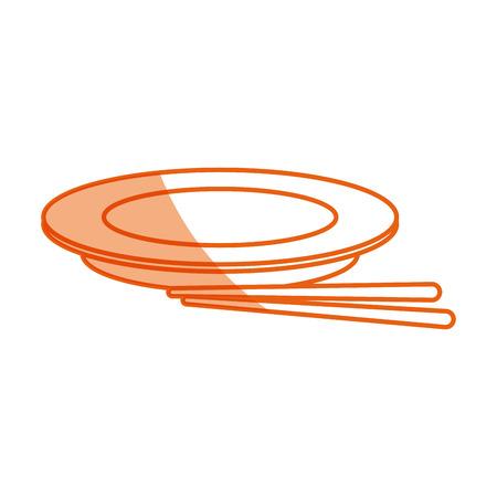 empty plate with chopsticks bamboo vector illustration Illustration