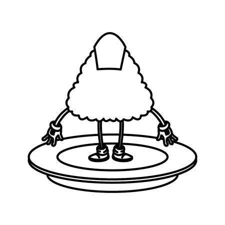 japanese cuisine: kawaii sushi oriental food japanese platter and chop sticks vector illustration Illustration