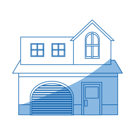 garage on house: home garage facade structure two story outline vector illustration