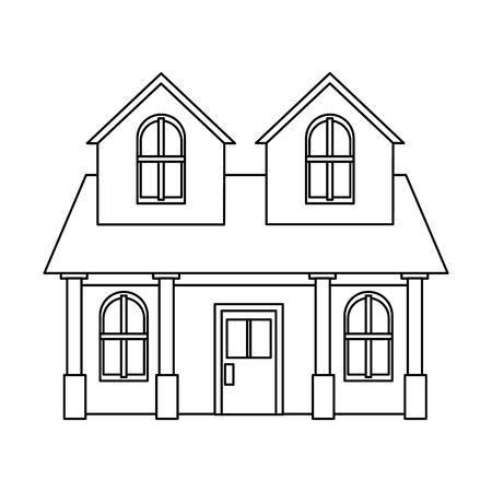 house residential real estate two story column windows outline vector illustration