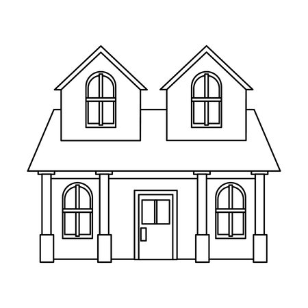 house residential real estate two story column windows outline vector illustration