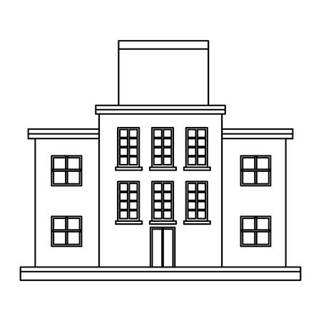 confection: market mall store front building board blank outline vector illustration