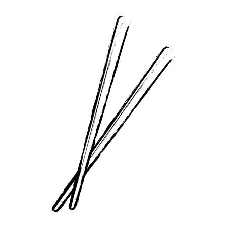 chopstick japanese bamboo element eat icon vector illustration