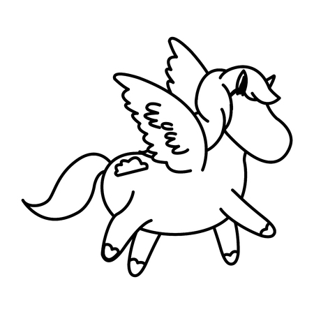 foal: beautiful horse pony wings foal toy vector illustration