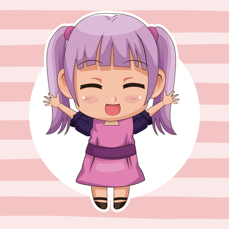 pink striped color background with circular frame and cute anime girl expression happiness vector illustration