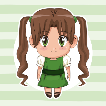 green striped color background with circular frame and cute anime girl with long pigtails hairstyle vector illustration