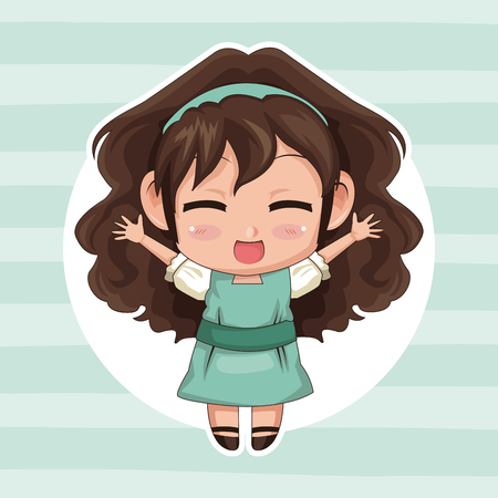 blue striped color background with circular frame and cute anime girl wink expression open arms with curly hairstyle vector illustration