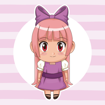 lilac striped color background with circular frame and cute anime girl with bow lace in long straight hairstyle vector illustration