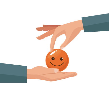 colorful hand giving coin in the form of happy face in a human palm vector illustration Illustration