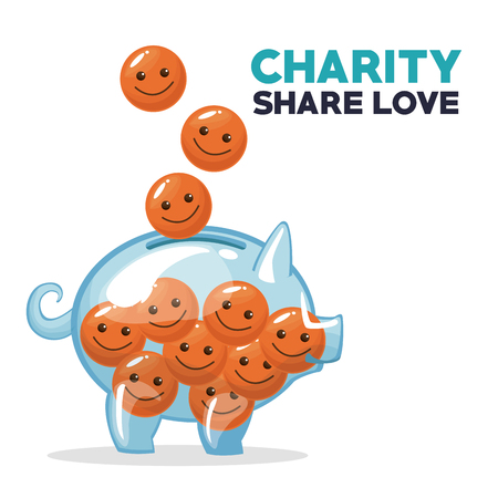 coins in form of happy face floating and depositing in money piggy bank charity share love vector illustration