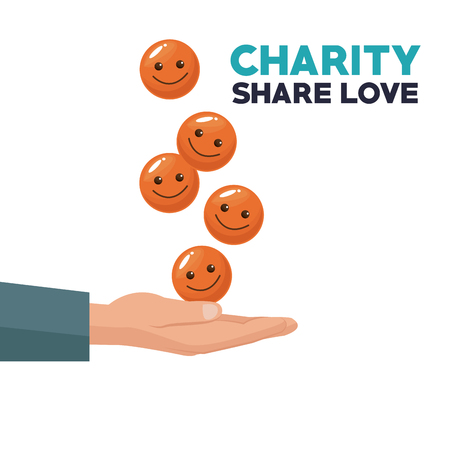colorful hand with floating coins in form of happy face floating charity share love vector illustration