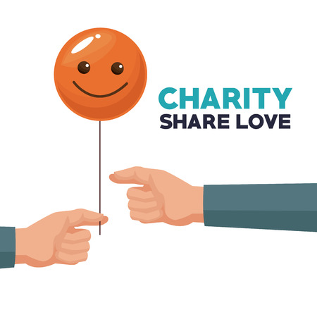white background human hand giving a balloon form of happy face charity share love vector illustration