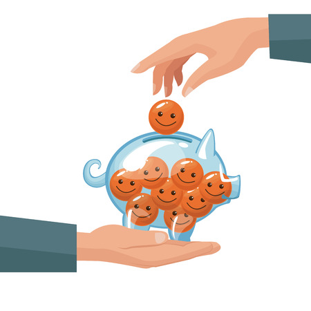 pair human hands depositing coin in the form of happy face in a money piggy bank vector illustration Illustration