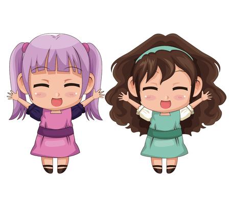 다채로운 전신 몇 귀여운 애니메이션 소녀 얼굴 표정 미소 및 점프 벡터 일러스트 레이션