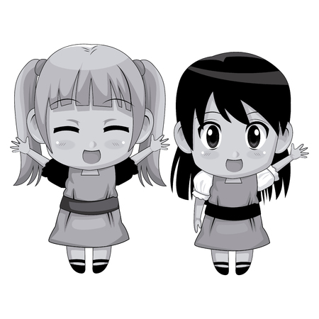 monochrome full body couple cute anime girl facial expression smile and greeting vector illustration Illustration