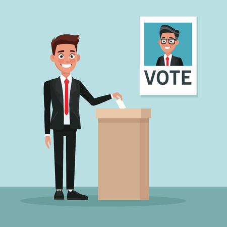 homme de scène de fond en costume vote pour illustration vectorielle de candidat mâle