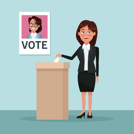 background scene woman in formal suit skirt vote for woman candidate vector illustration Illustration