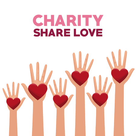 philanthropist: colorful set hands with heart in palms charity share love vector illustration