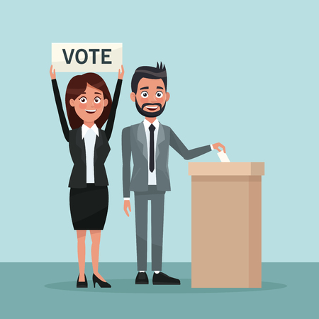 background scene man in formal suit vote in urn for candidate and woman with banner vector illustration Illustration